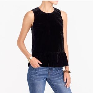 J. Crew black velvet peplum top